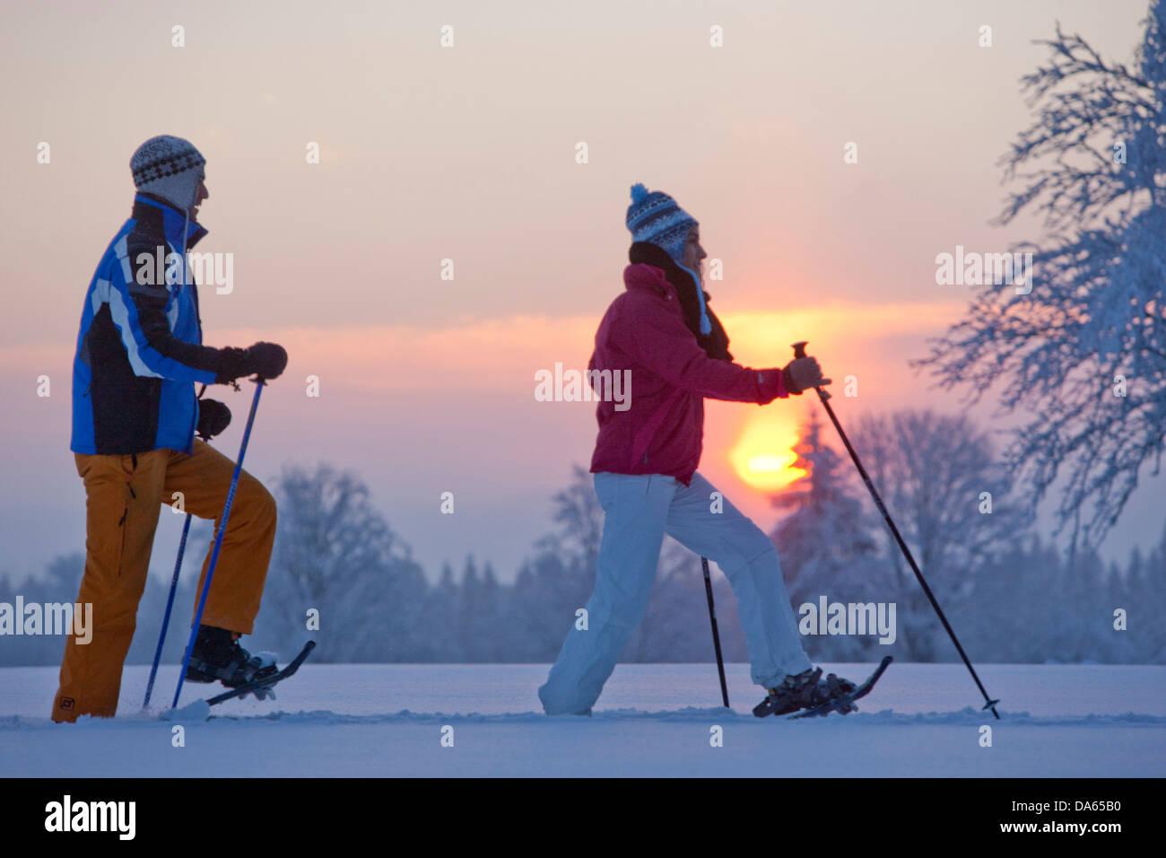 La Chaux de Breuleux, raquette, raquettes, balades, randonnées, Jura, canton, JU, chaussures de neige, neige, Photo Stock