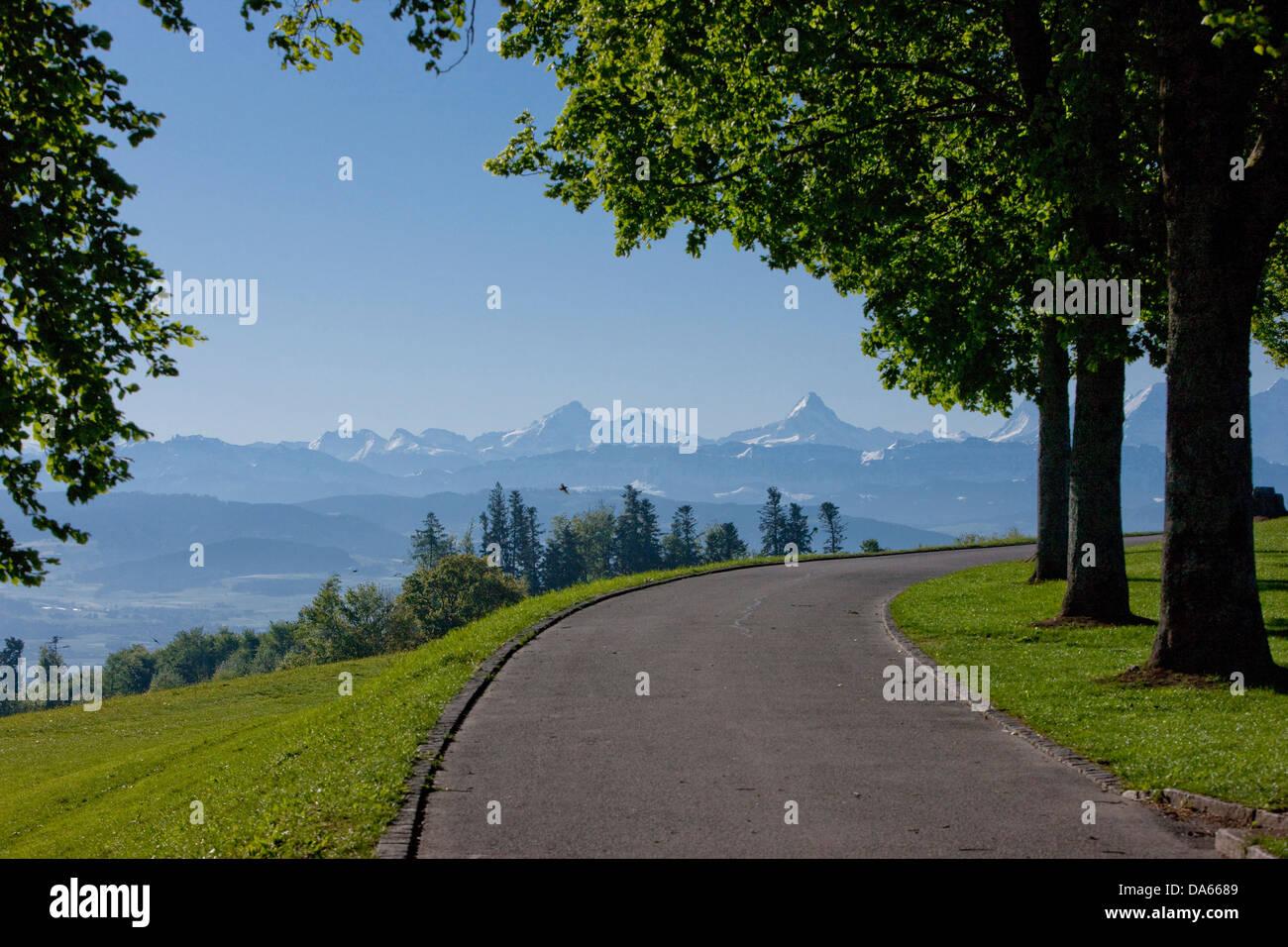 Gurten, Oberland, Alpes, montagne, montagnes, canton, Berne, paysage, paysage, l'agriculture, le trafic de rue, Photo Stock