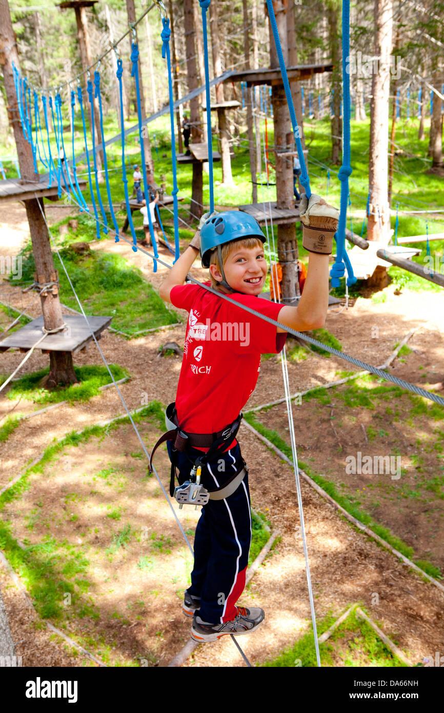 Parc d'été, sport, sport, temps libre, loisirs, aventure, canton, GR, Grisons, Grisons, escalade, Photo Stock