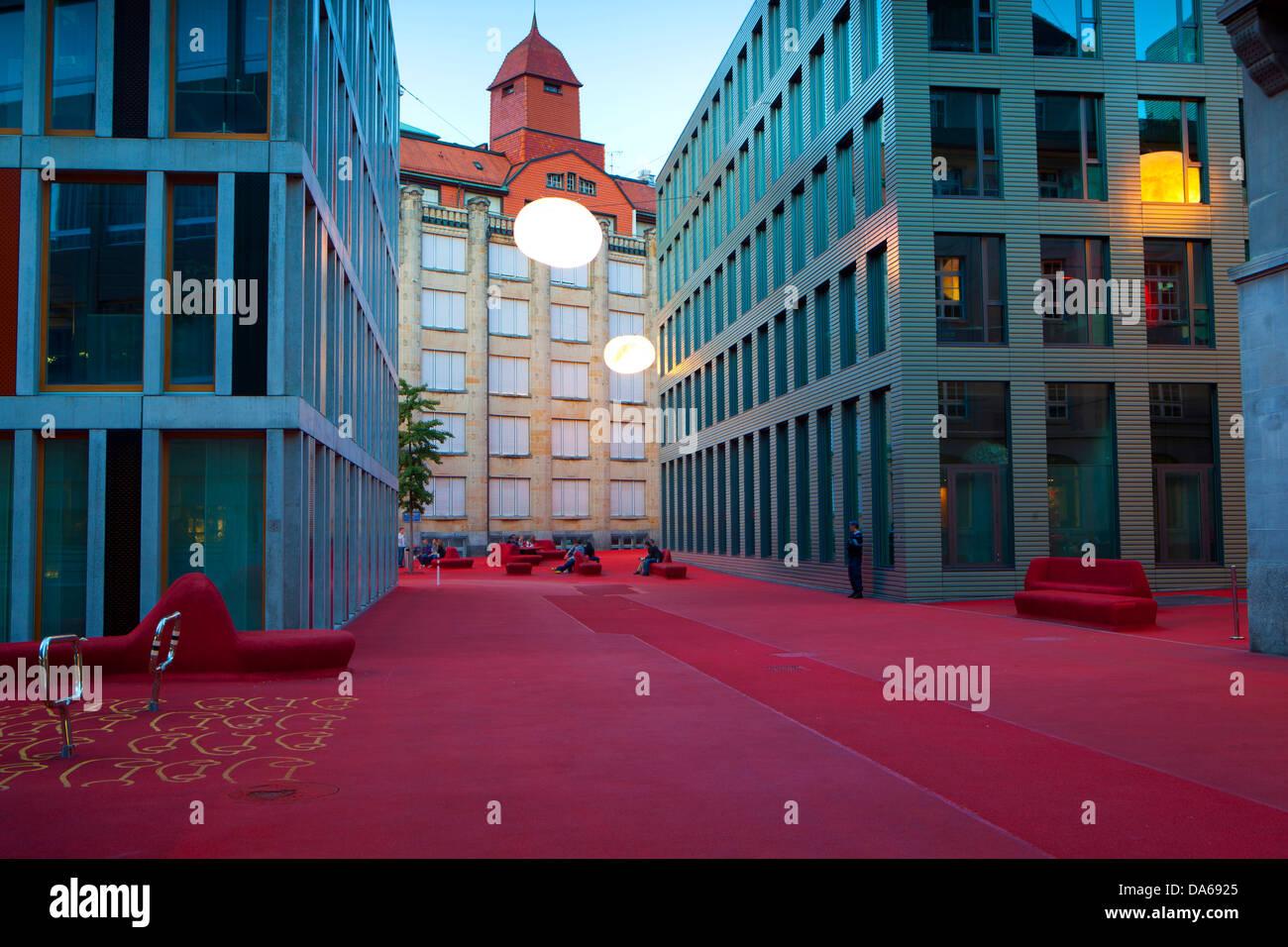 Saint-gall, Saint-Gall, Suisse, salon de la ville, l'Europe, canton, ville, ville, au crépuscule, l'éclairage, Photo Stock