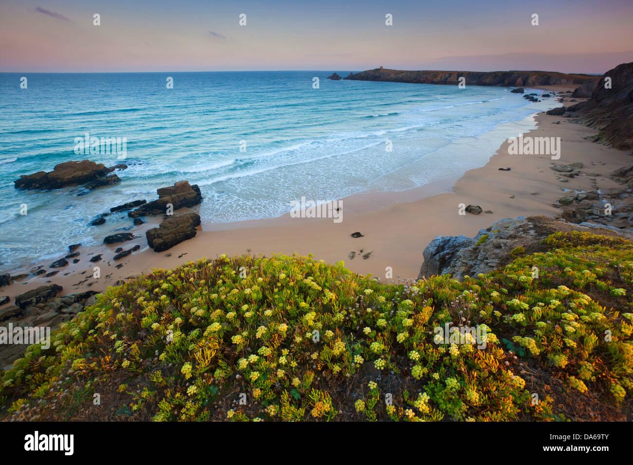 Côte Sauvage, France, Europe, Bretagne, Morbihan, l'autre ministère, rock, falaise, mer, plage de Photo Stock