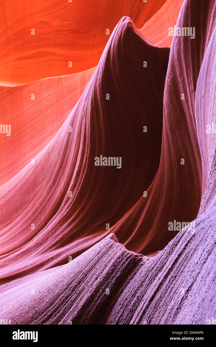 Lignes et structures au Lower Antelope Canyon, Page, Arizona Photo Stock