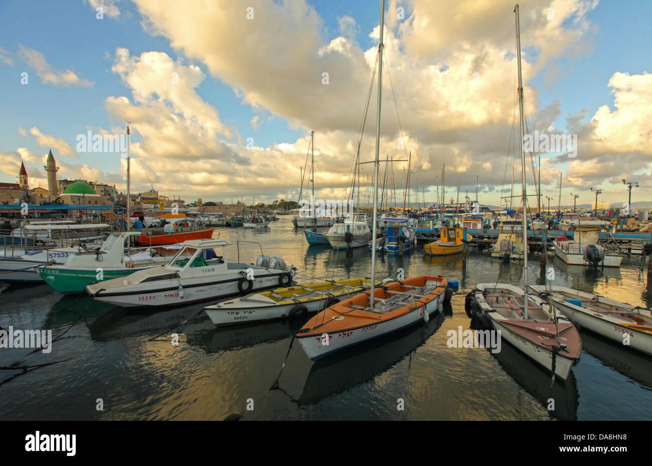 Israël, dans l'ouest de la Galilée, le port d'Acre Photo Stock