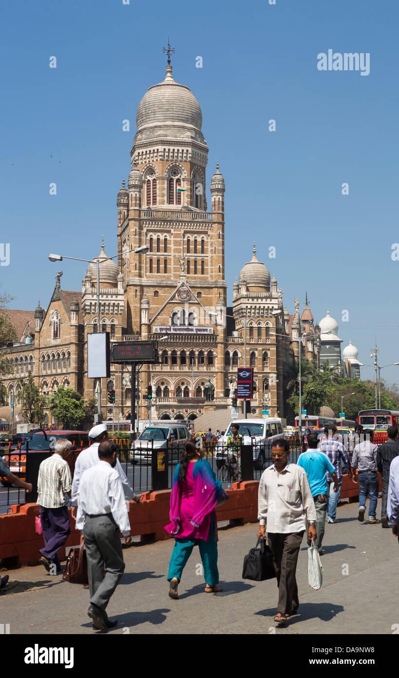 L'Inde, l'Inde, Asie, Maharashtra, Mumbai, Bombay, Ville, Dadabhai Naoroji, route, Corporation municipale, Photo Stock