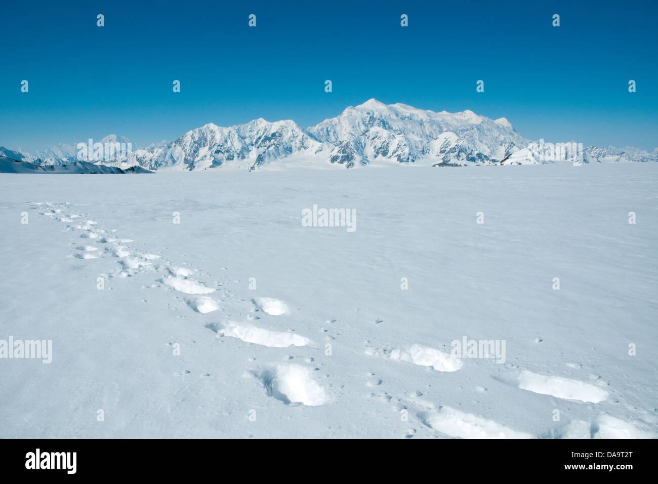 Imprime en raquettes sur un glacier en montagnes St. avec Mont Logan dans la distance, Yukon, Canada. Photo Stock