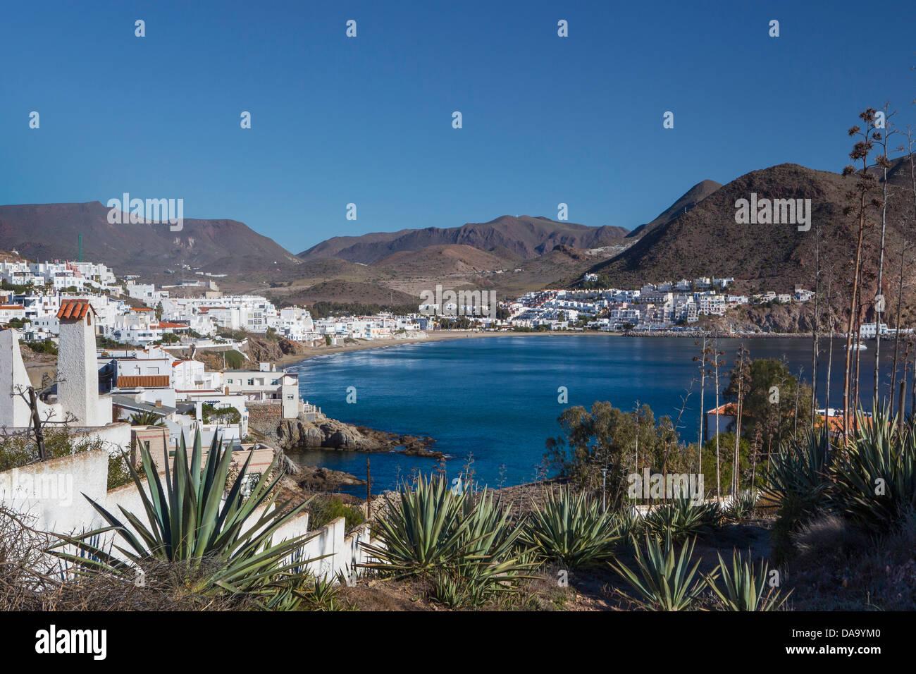 Almeria, Espagne, Europe, l'Andalousie, San Jose, plage, bleu, littoral, paysage, Méditerranée, pueblo, Photo Stock