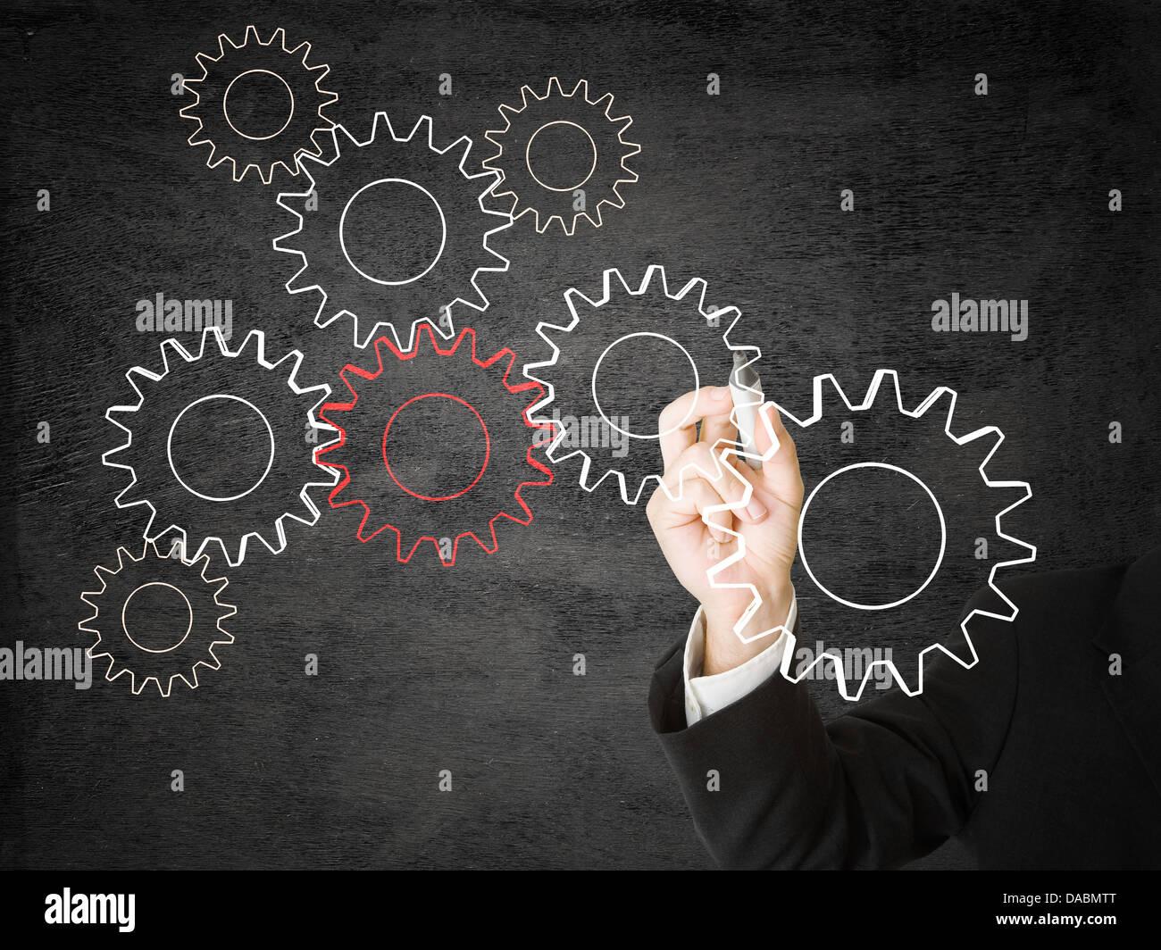 Businessman Dimensions roues dentées - mise en réseau ou de coopération concept Photo Stock