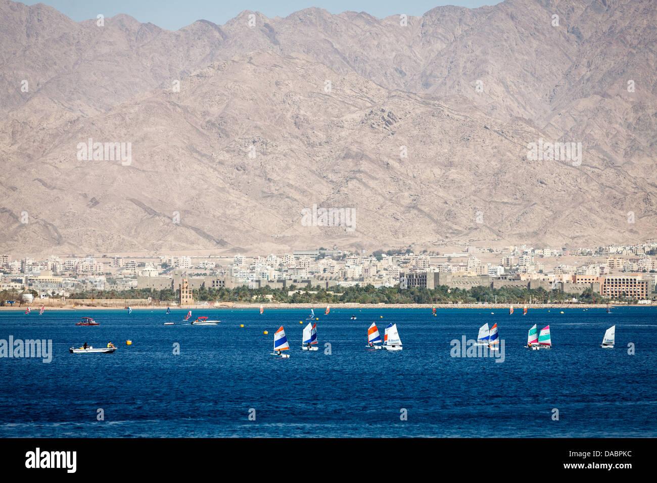 La planche à voile, Eilat, Israël, Moyen Orient Photo Stock