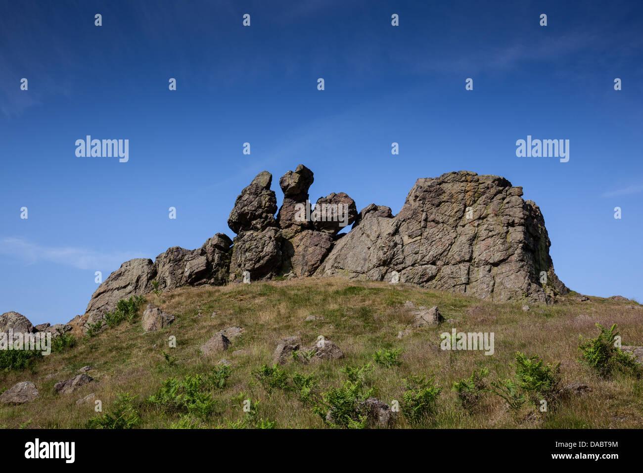 Trois doigts Rock le Caer Caradoc Hill près de Church Stretton, Shropshire Photo Stock