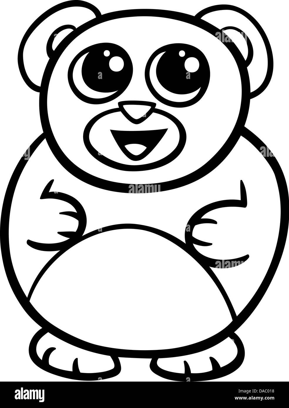Coloriage Pingouin Kawaii.Illustration Cartoon Noir Et Blanc De Style Kawaii Cute Ours A