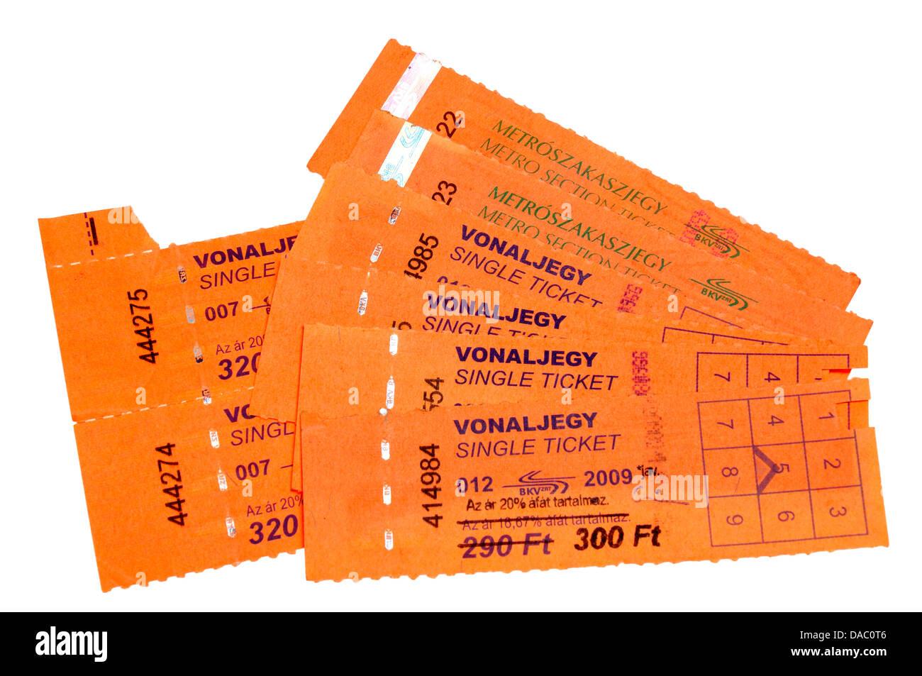 Les billets de transport public de Budapest Photo Stock