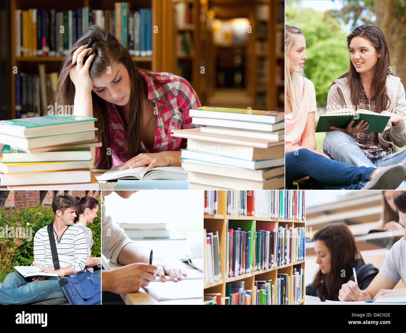 Collage d'élèves étudiant Photo Stock