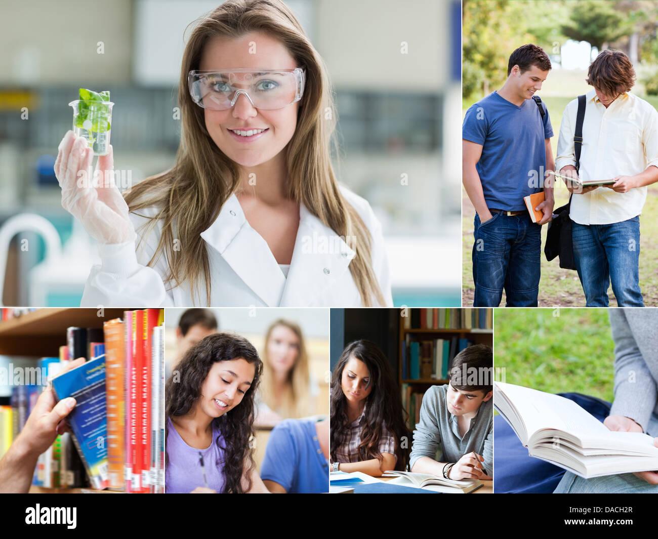 Collage de photos avec les élèves Photo Stock