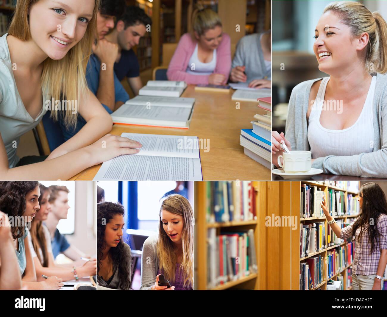 Collage d'étudiants dans la bibliothèque Photo Stock