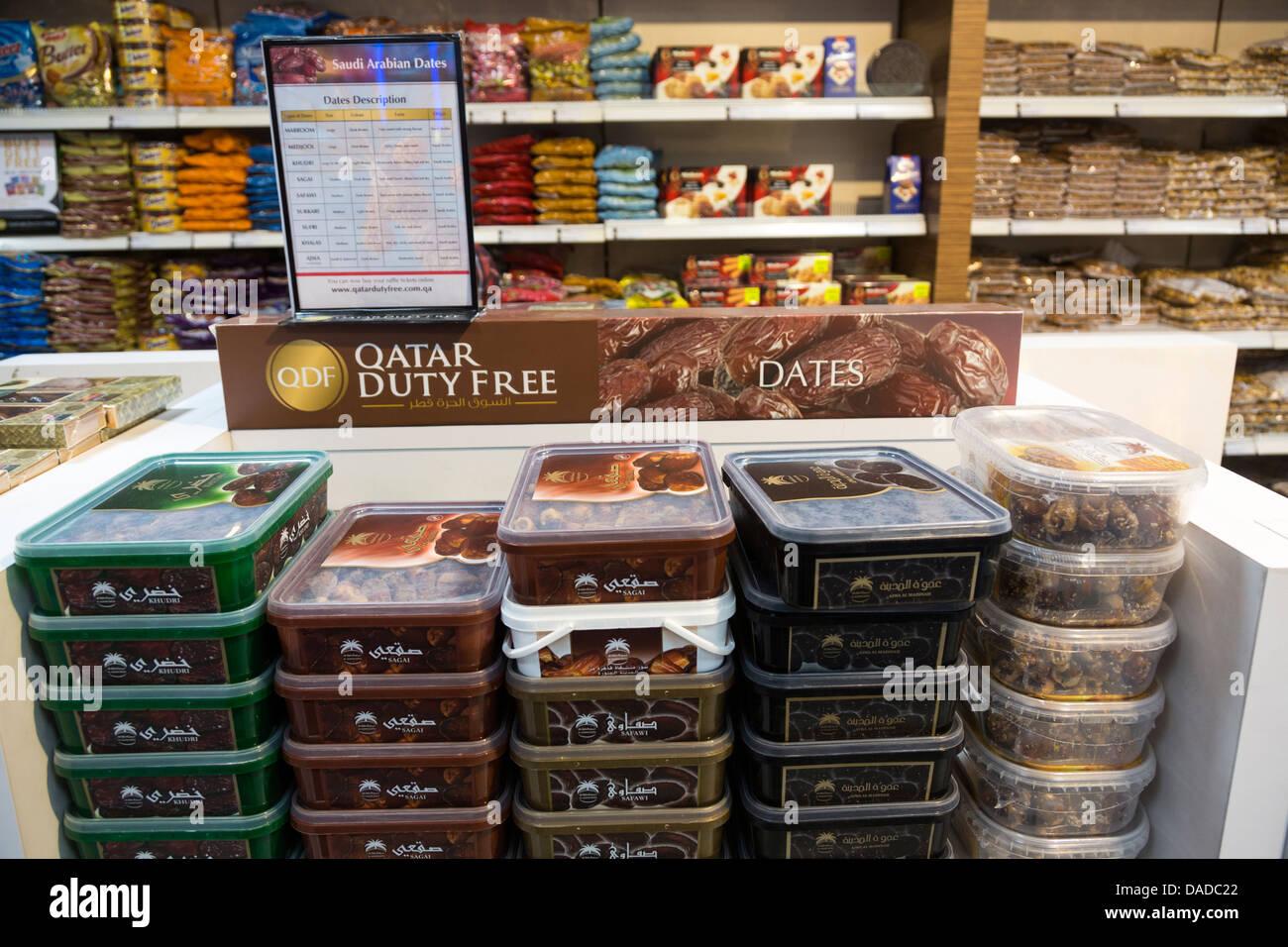 Dates de vente, boutiques, aéroport de Doha, Qatar Banque D'Images