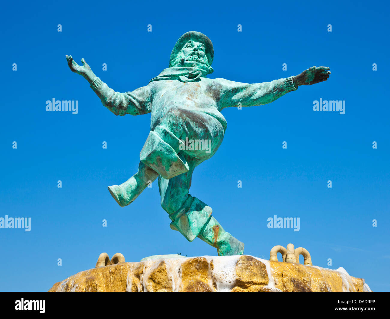 Statue de pêcheur Jolly Tour de Skegness Lincolnshire Jardins england UK GB EU Europe Photo Stock