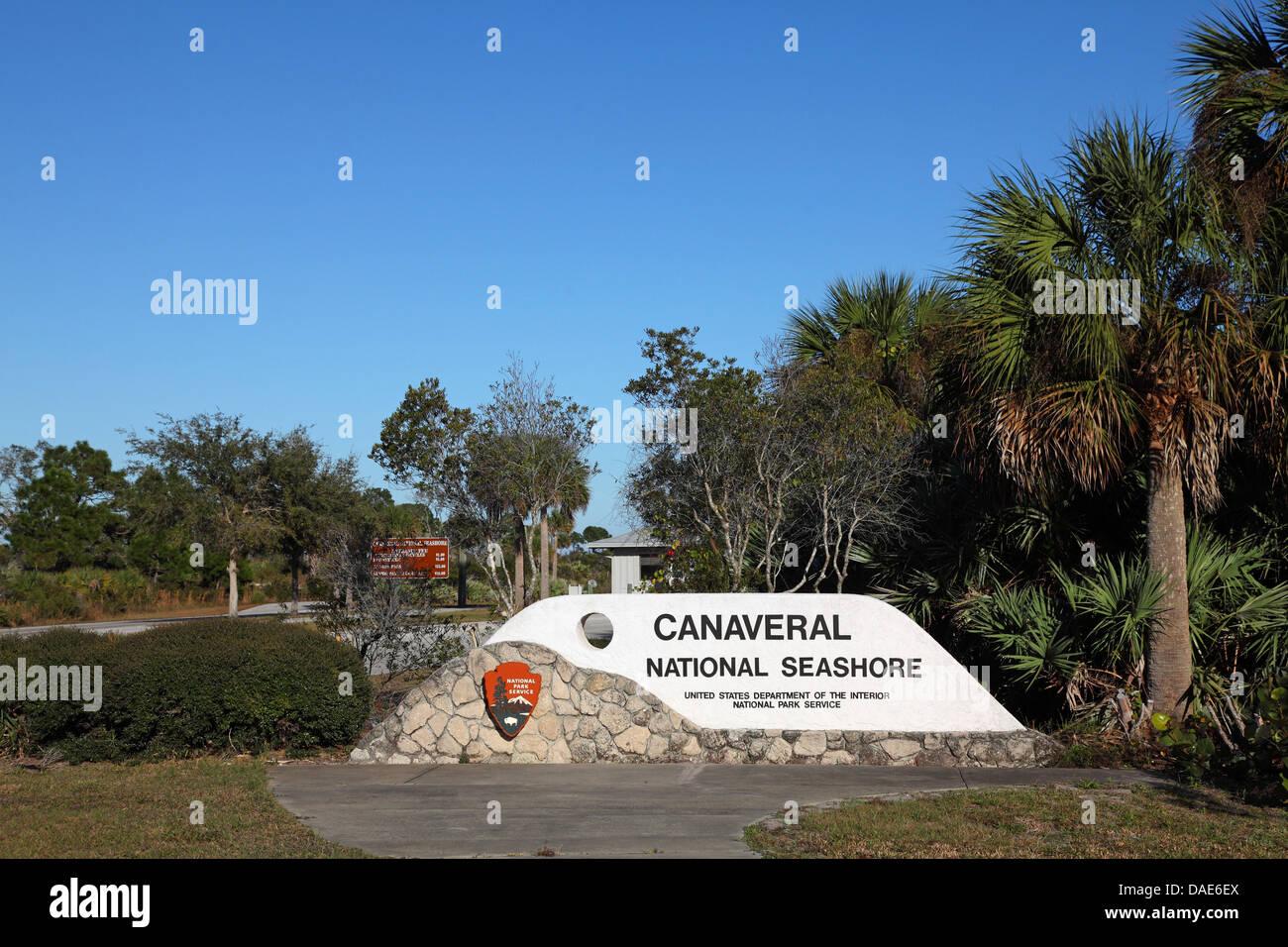 "Entrée de la zone de conservation ""Canaveral National Seashore', USA, Floride, Merritt Island Photo Stock"