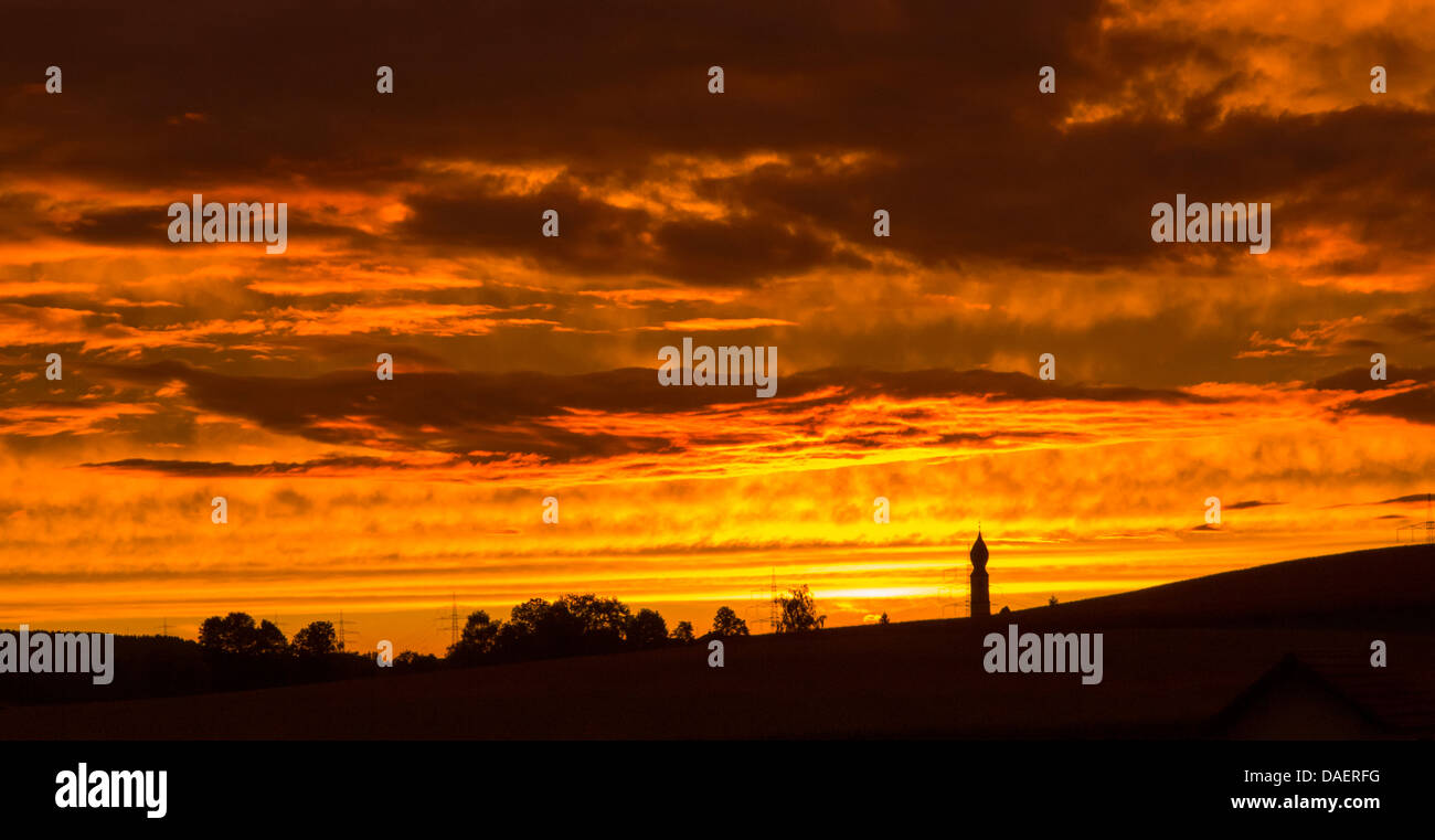 Incandescence du soir, l'Allemagne, la Bavière Photo Stock