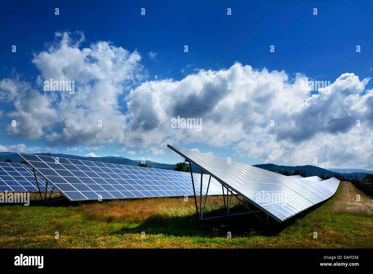 Ferme solaire avec des panneaux solaires dans un grand tableau. L'Auvergne. France Photo Stock
