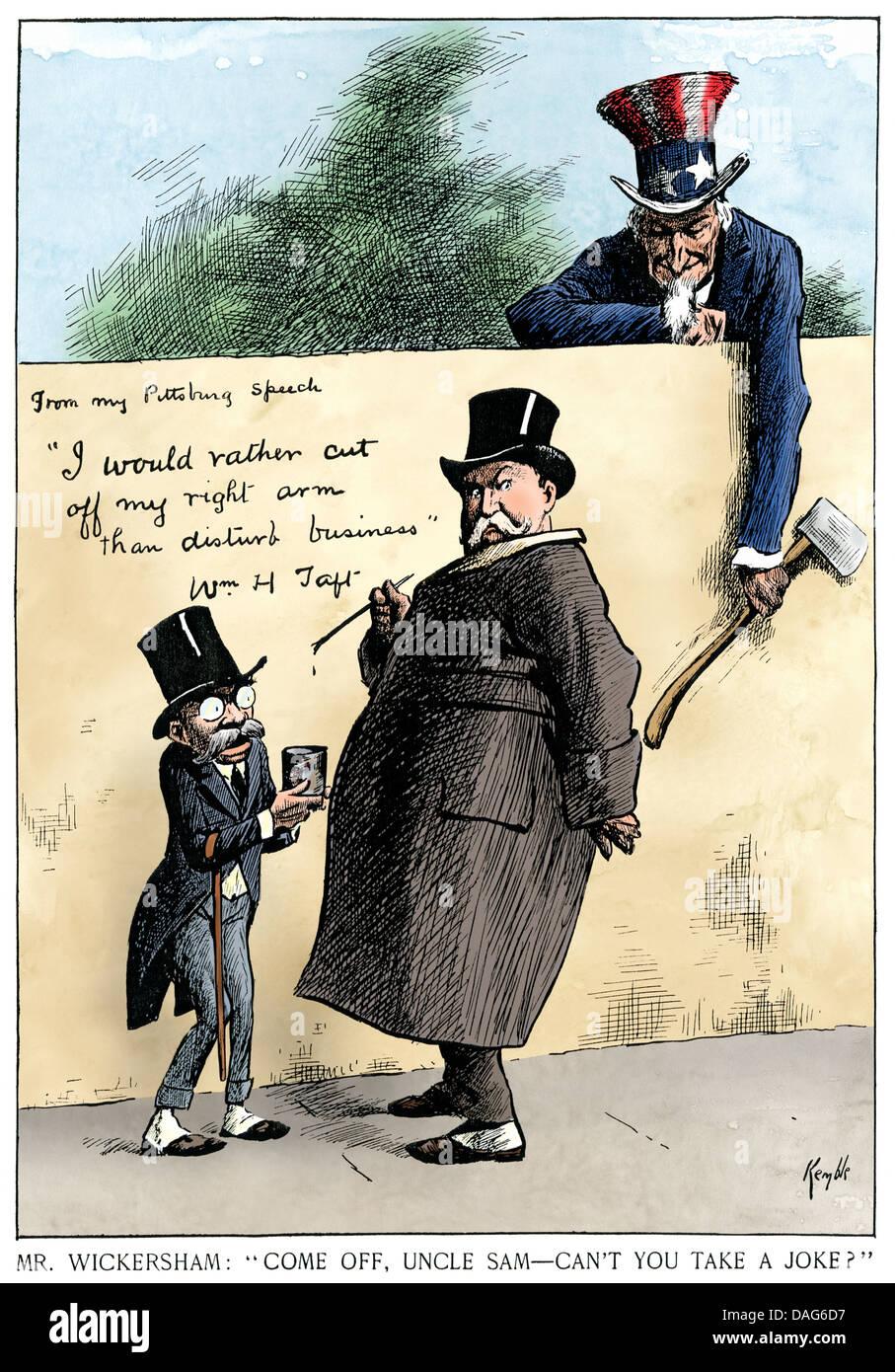 Caricature sur actions antitrust du procureur général 2000-08 et le président Taft, 1911. À Photo Stock
