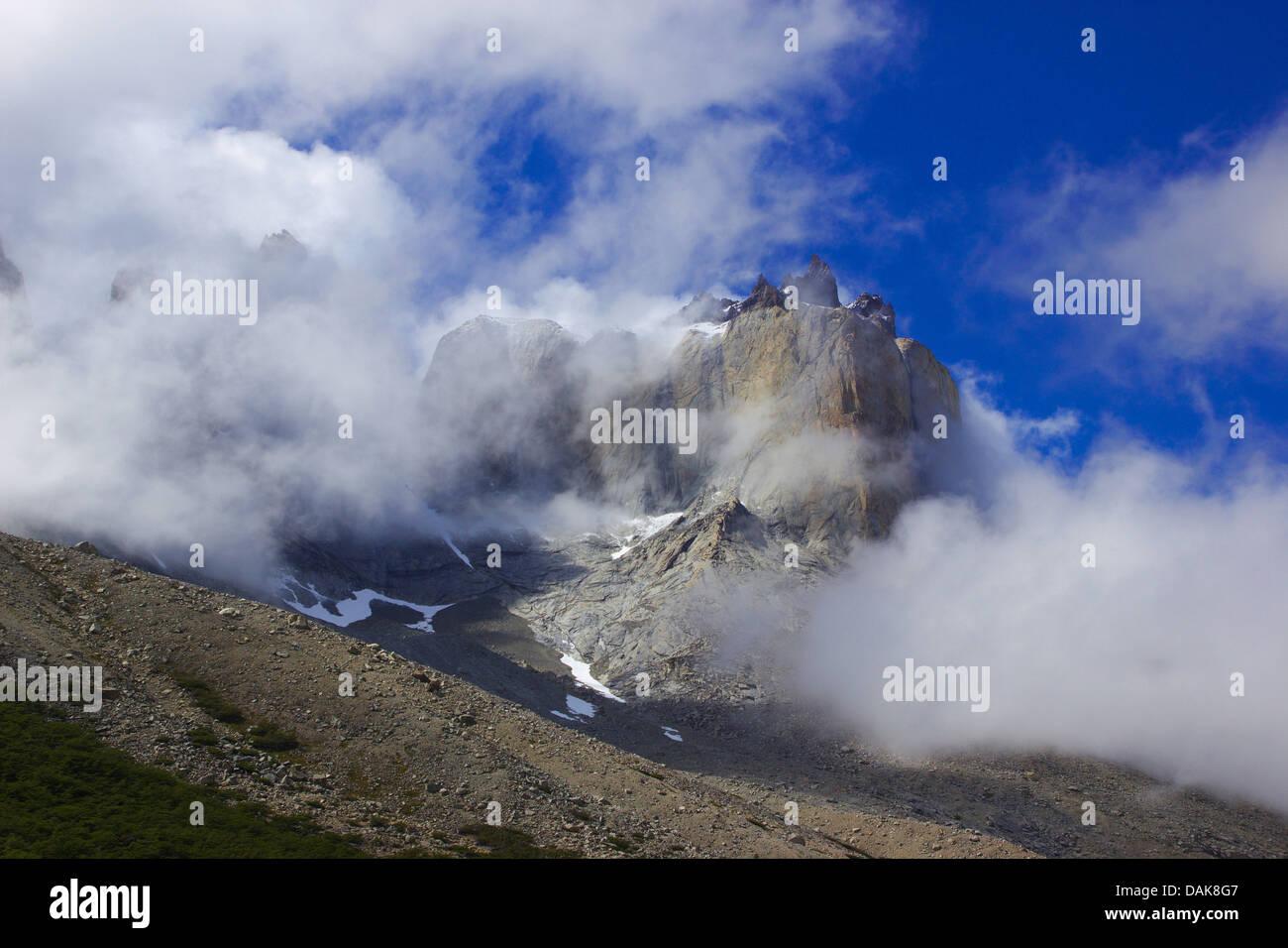 Cuerno Norte del Valle, Francais, le Chili, la Patagonie, le Parc National Torres del Paine Photo Stock