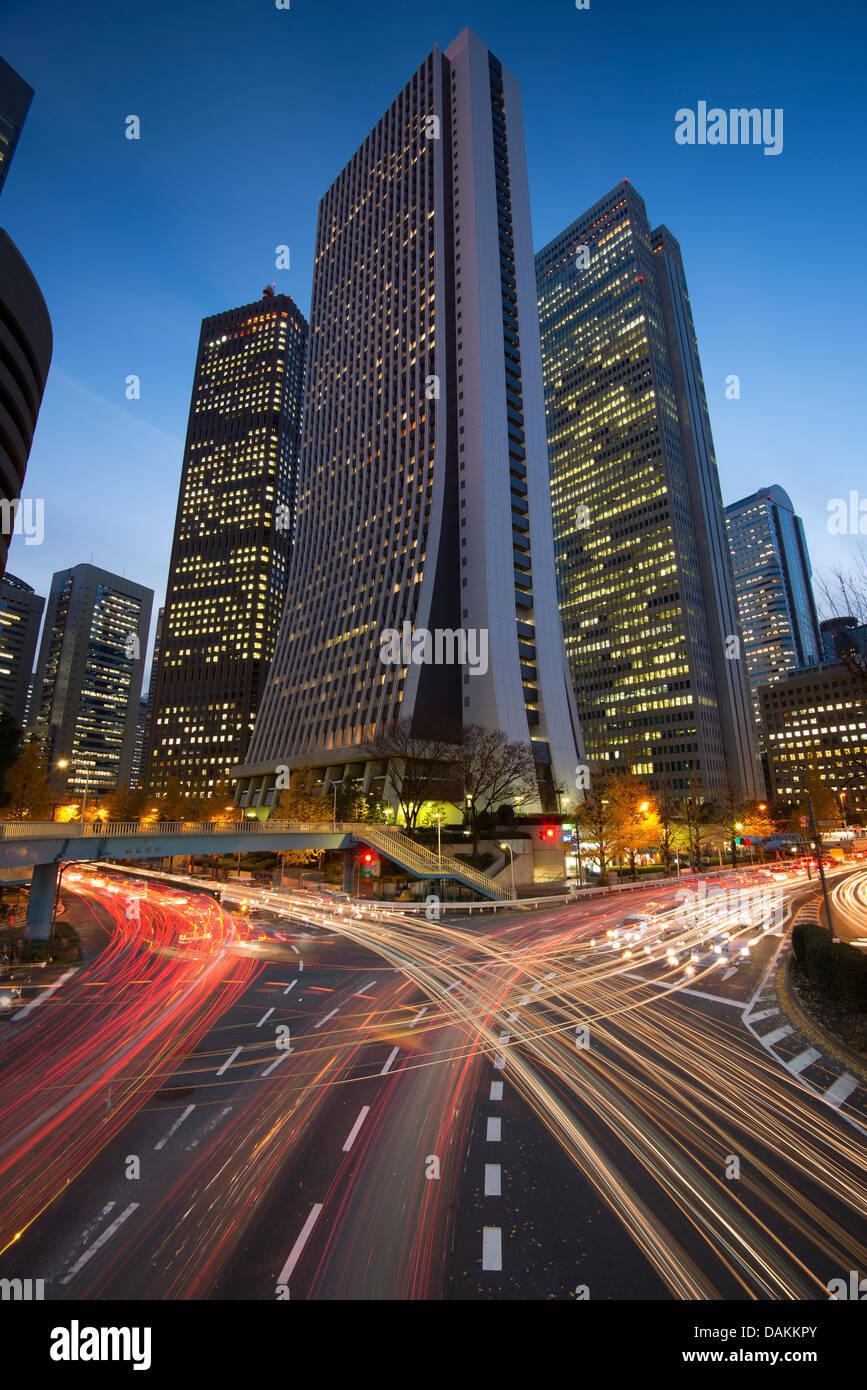 Tokyo, Japon financial district à Shinjuku. Photo Stock