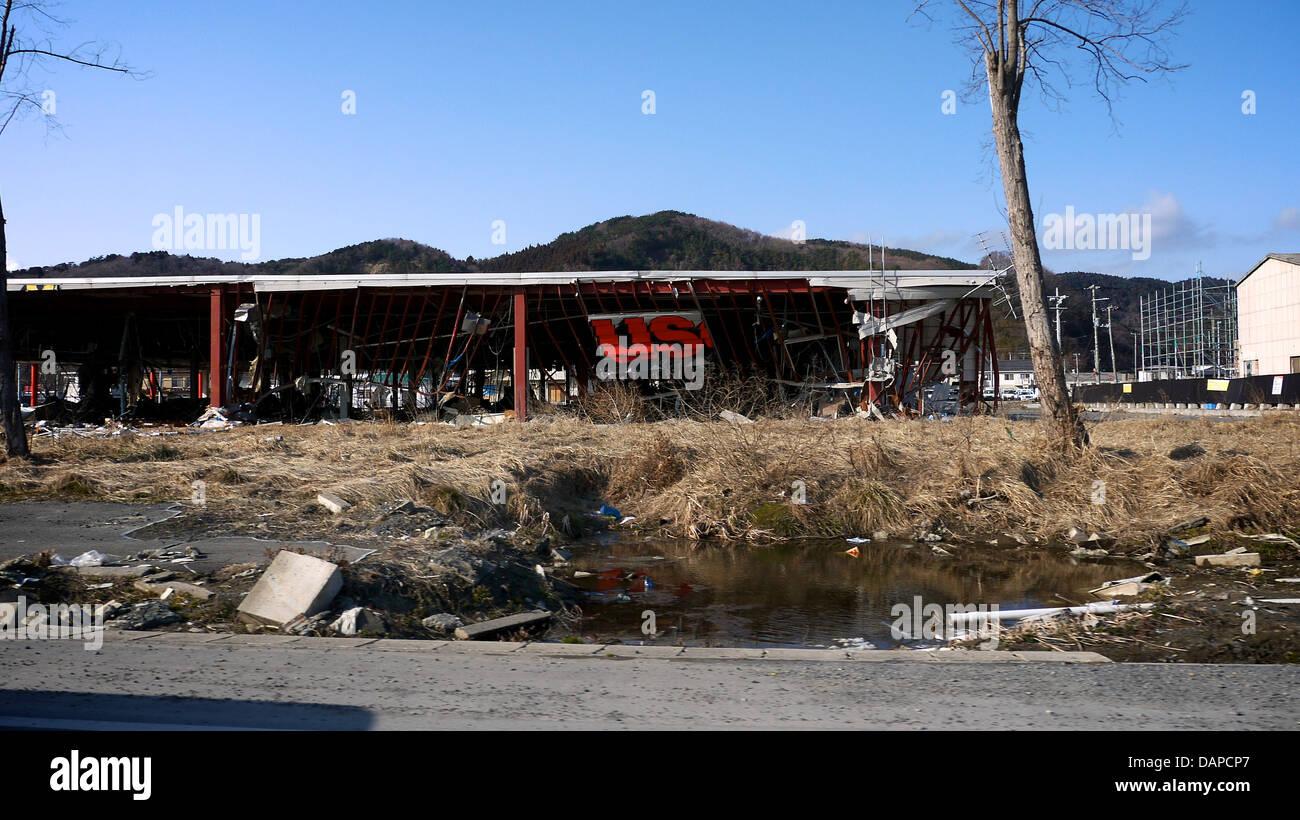 Ishinomaki gravement endommagées par les tremblements de terre et du Tsunami de Tohoku 2011 Photo Stock