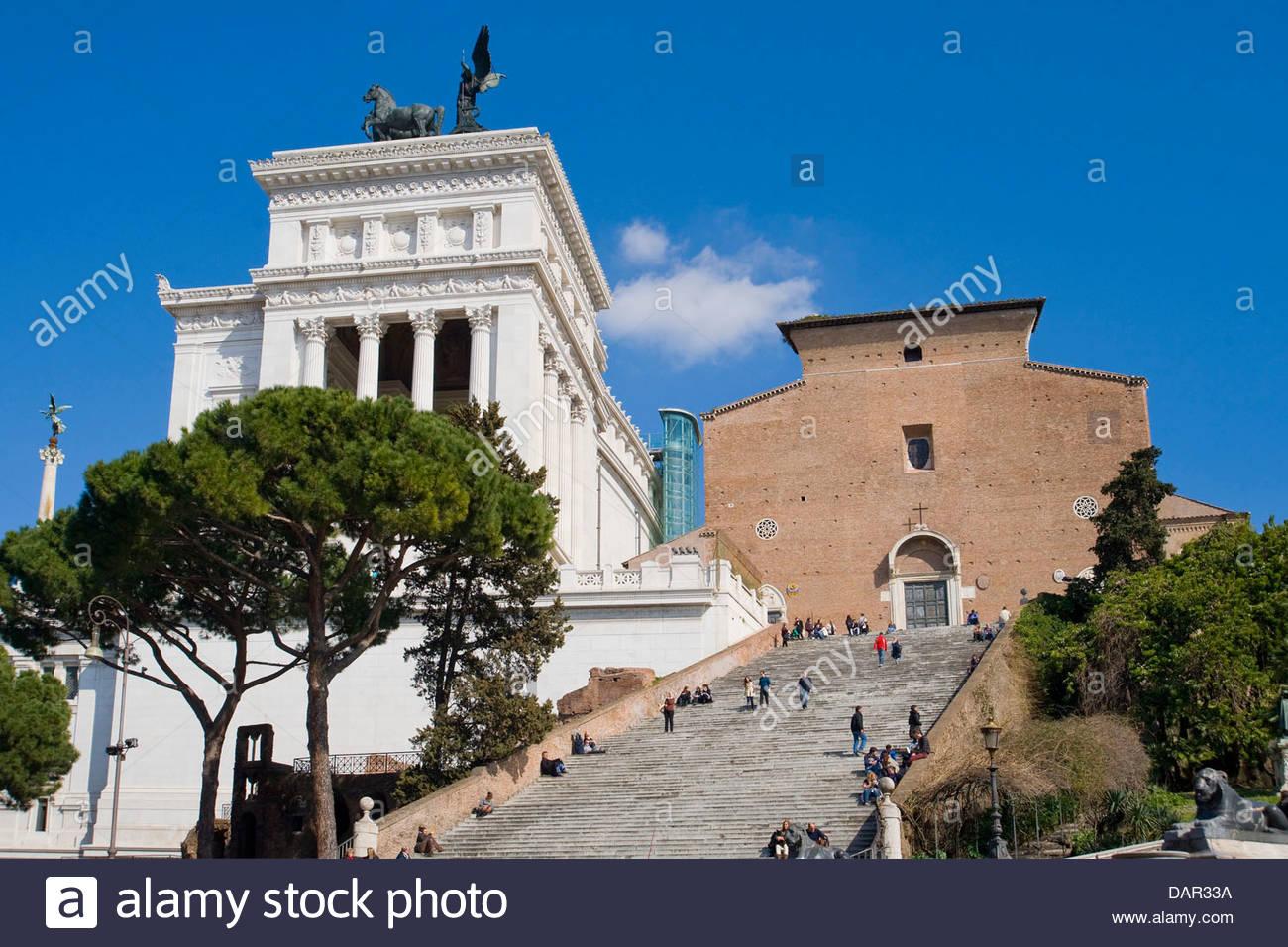 Vittoriano,ofi Basilique Santa Maria in Aracoeli,Rome, Latium, Italie Photo Stock