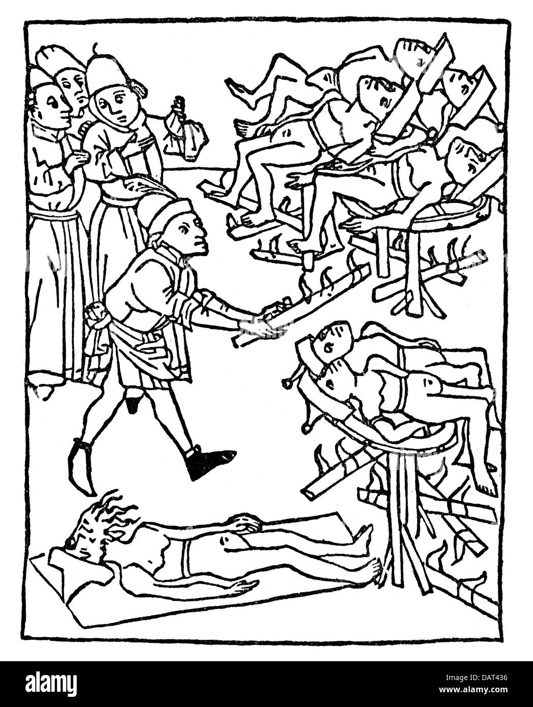 Le judaïsme, de la persécution des Juifs, les Juifs sont tressés sur la  roue, gravure sur bois, 1475, Additional,Rights,Clearences,NA