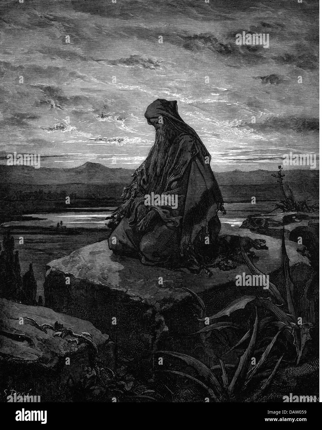 """La religion, scènes bibliques, """"Isaïe"""", gravure sur bois de la Bible par Gustave Doré, 1866, l'artiste n'a pas d'auteur pour être effacé Banque D'Images"""
