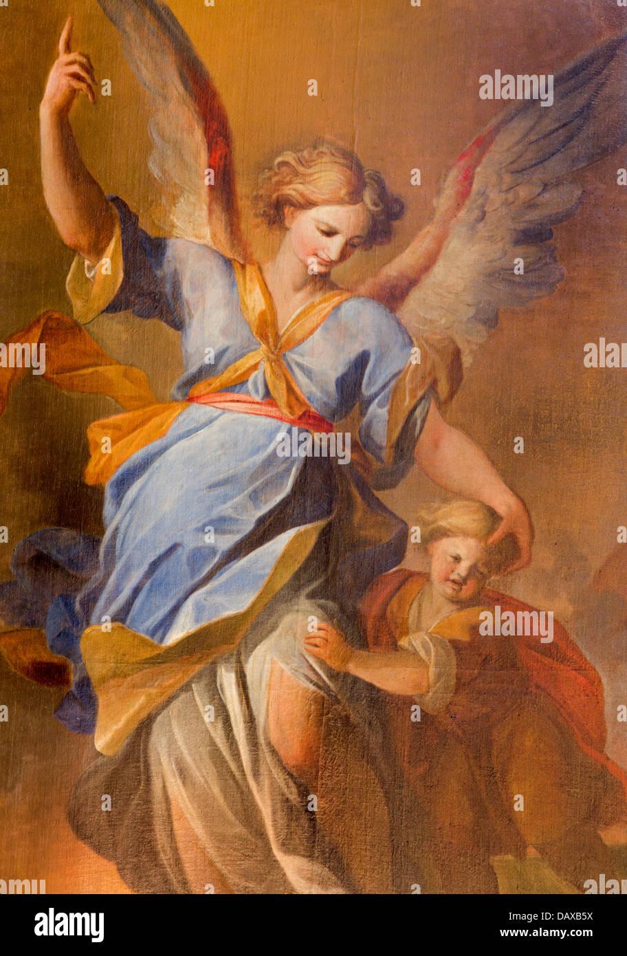Vienne - 3 juillet: ange gardien avec l'enfant dans la peinture de l'autel latéral de l'église Photo Stock