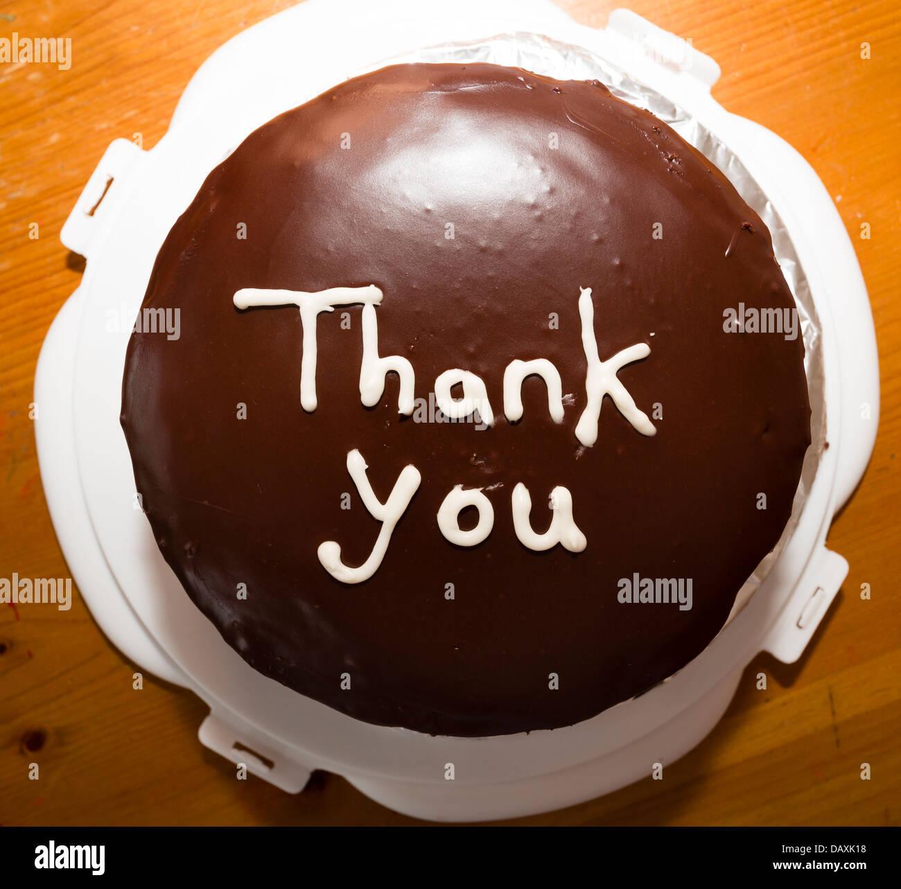 Je vous remercie d'un gâteau au chocolat. Photo Stock