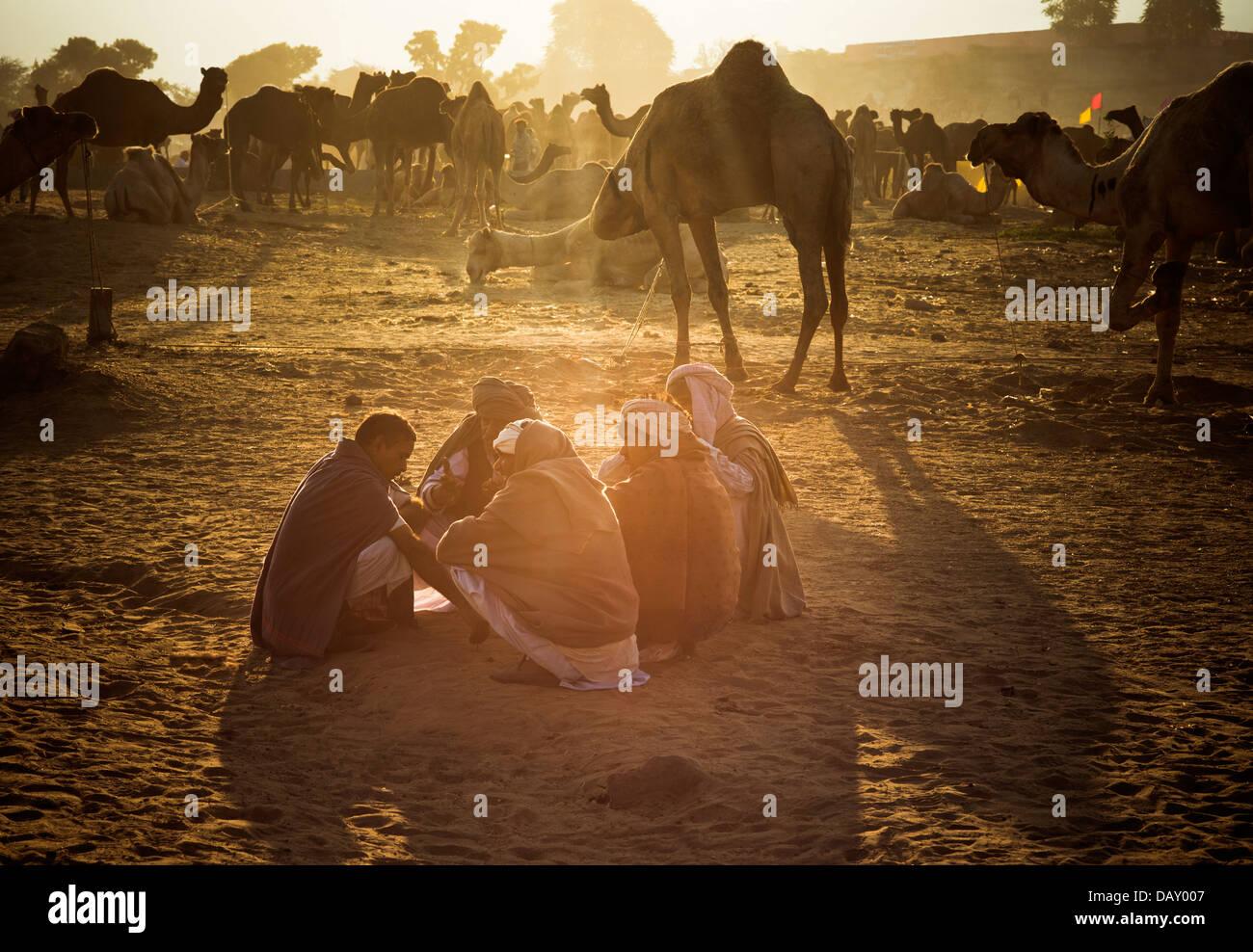 Scène à Pushkar Camel Fair, lac Pushkar, Pushkar, Ajmer, Rajasthan, Inde Banque D'Images