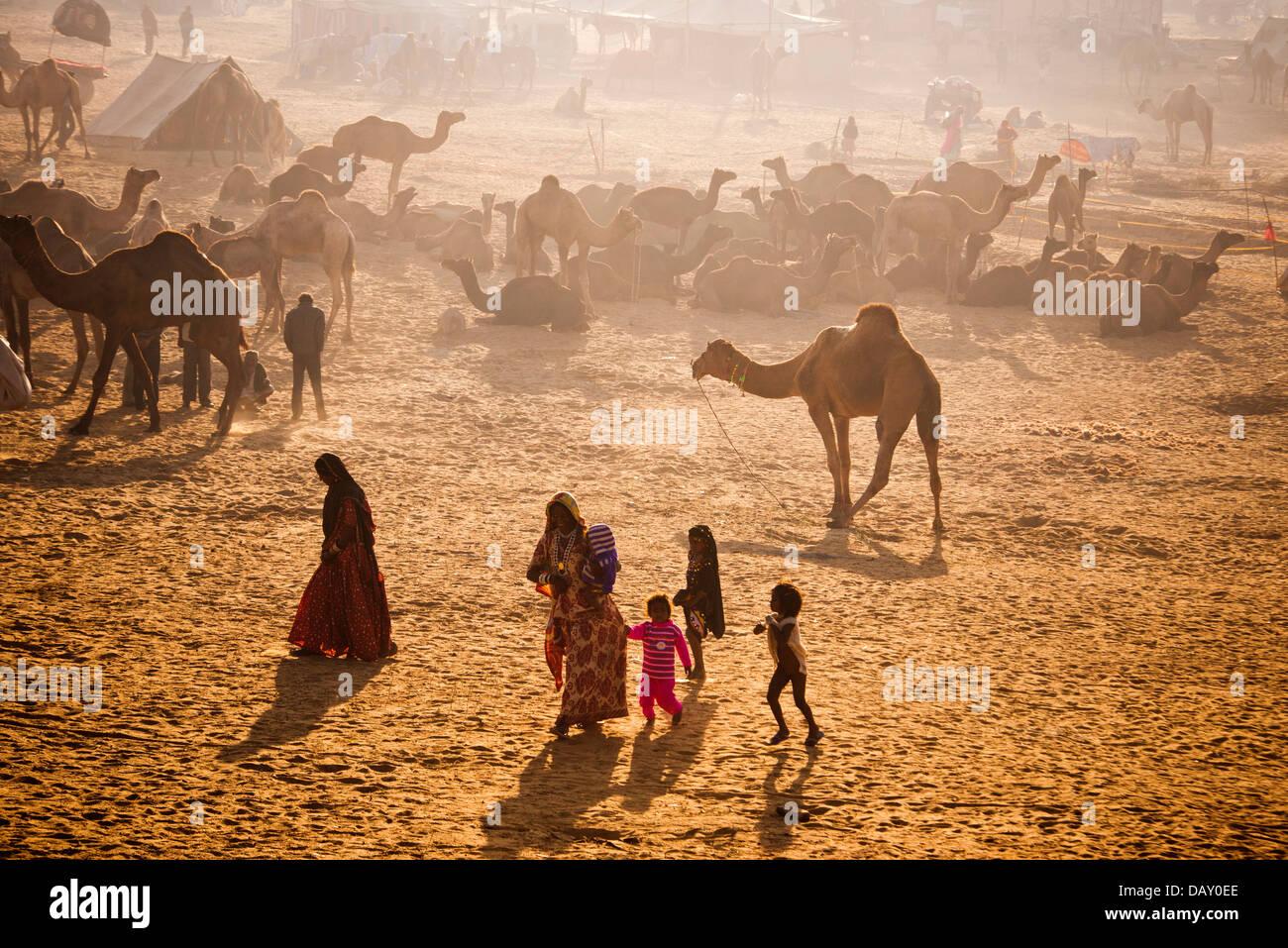 Scène à Pushkar Camel Fair, Pushkar, Ajmer, Rajasthan, Inde Banque D'Images