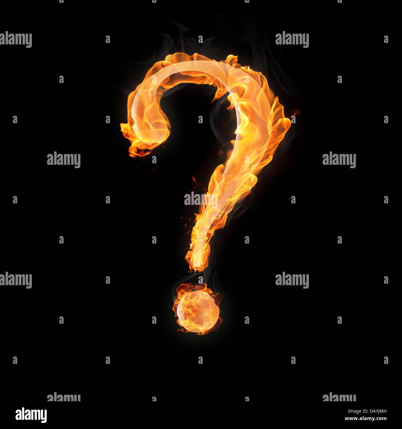 Point D Interrogation Dans Le Feu Sur Fond Noir Photo Stock Alamy