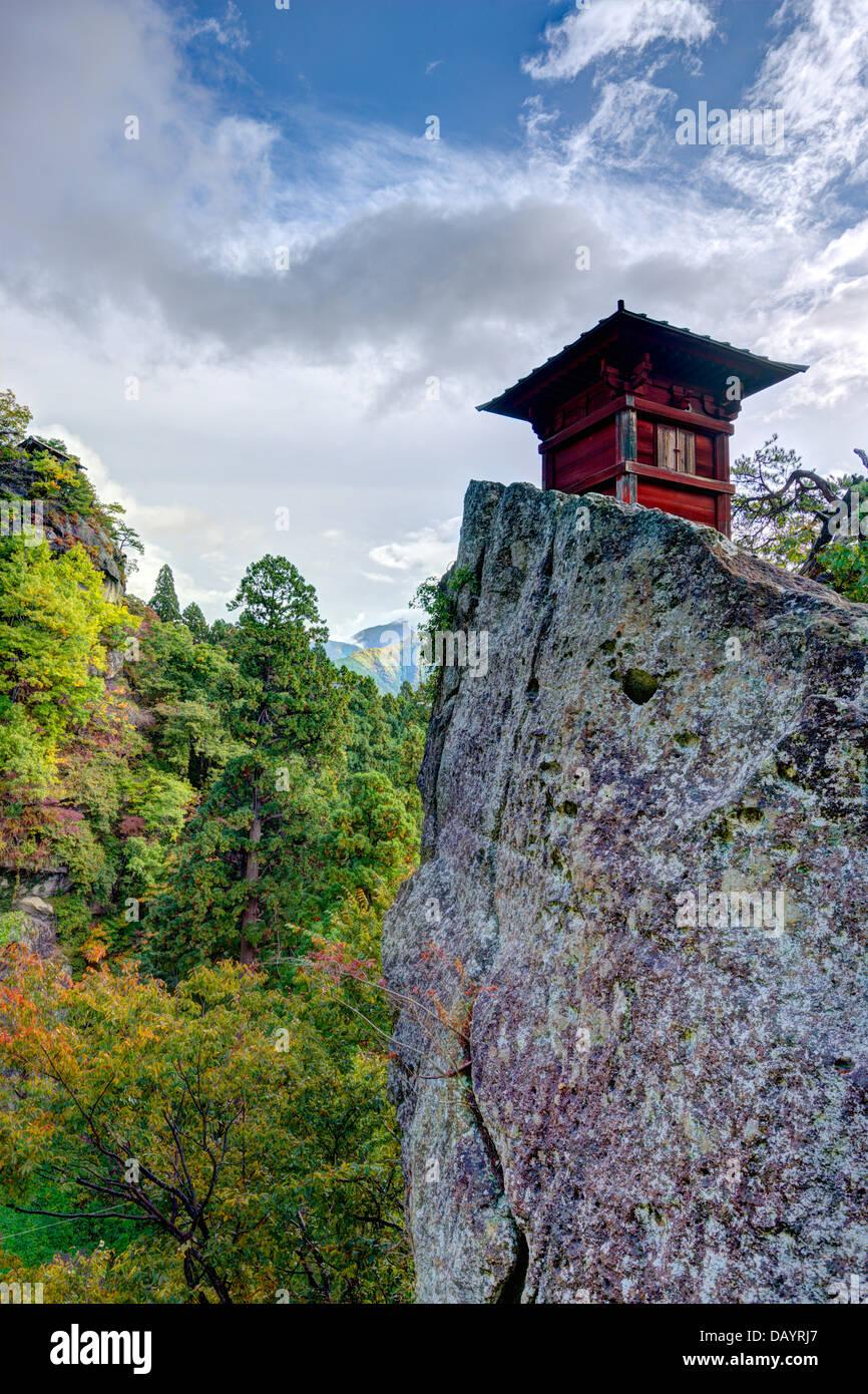 Yamadera temple montagne de Yamadera, Yamagata, Japon. Photo Stock