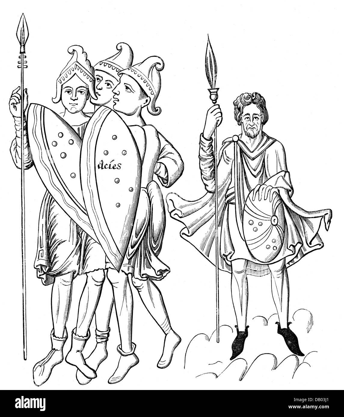 Byzance, militaires, soldats Byzantins (à gauche) et guerrier germanique (à droite), gravure sur bois, Photo Stock