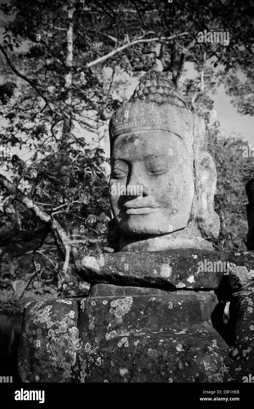 Chef de gate guardian, Angkor, Cambodge Photo Stock