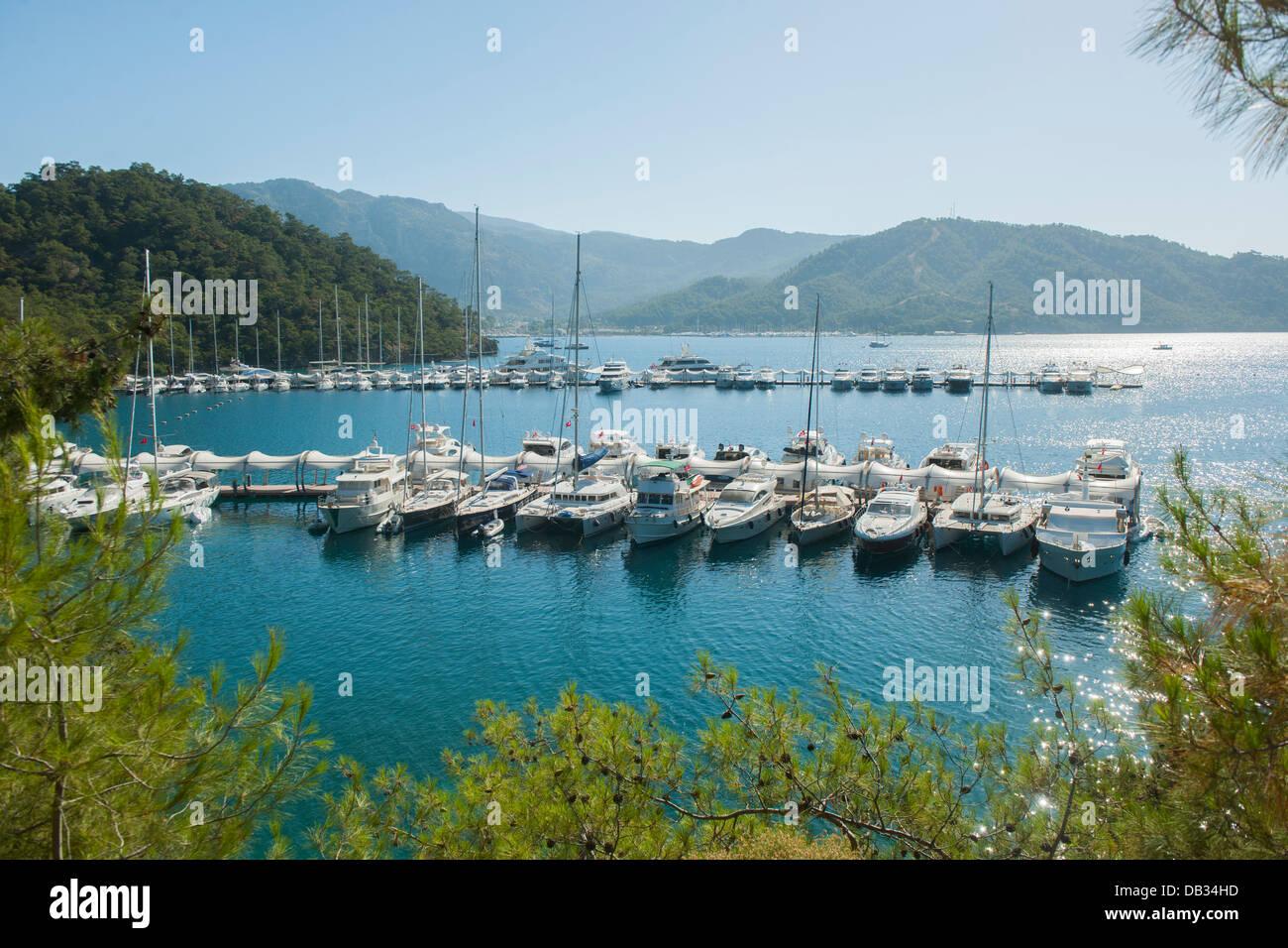 Türkei, Provinz Mugla, Fethiye, Bootsstege der Marin Turk Photo Stock