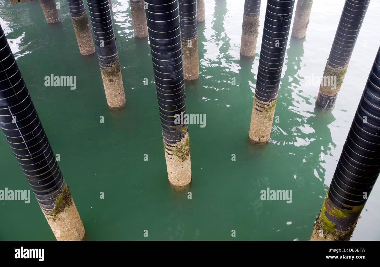 Colonne de support de la jetée de Cromer piliers mer Angleterre Norfolk Photo Stock
