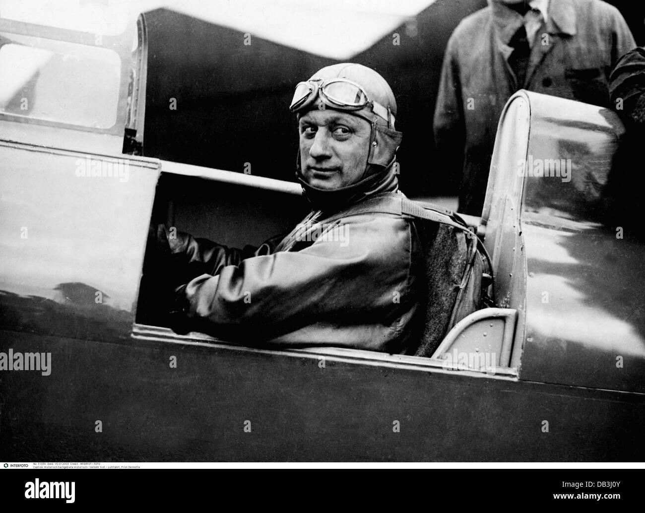 Transport / Transports, aviation, pilote, Raymond Delmotte, années 30, 30s, 20e siècle, historique, historique, Photo Stock