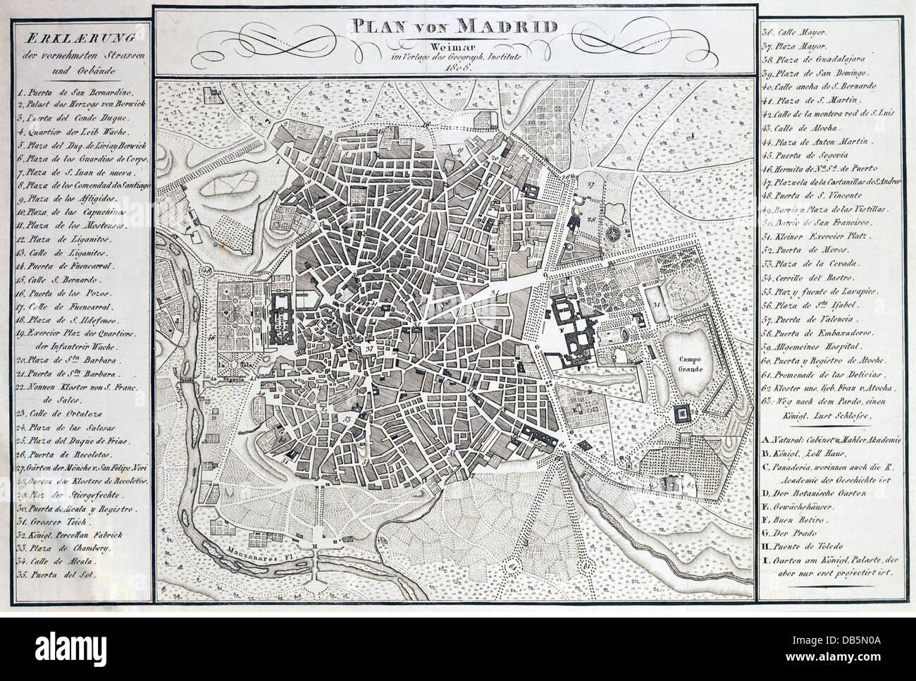 La cartographie, cartes de la ville, l'Espagne, Madrid, Institut Géographique, Weimar, 1806, Additional Photo Stock