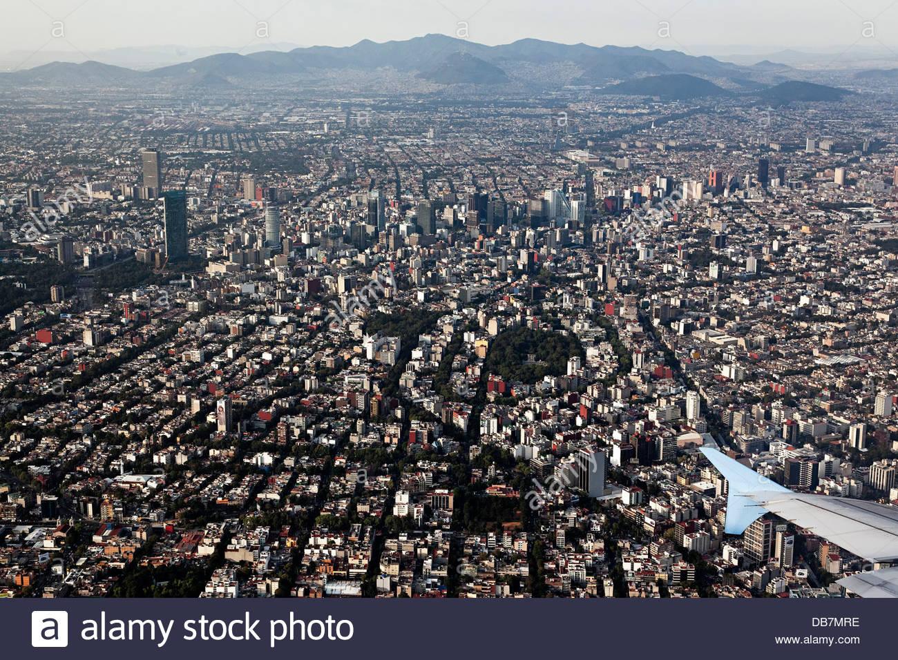 Vue aérienne sur la ville de Mexico Photo Stock