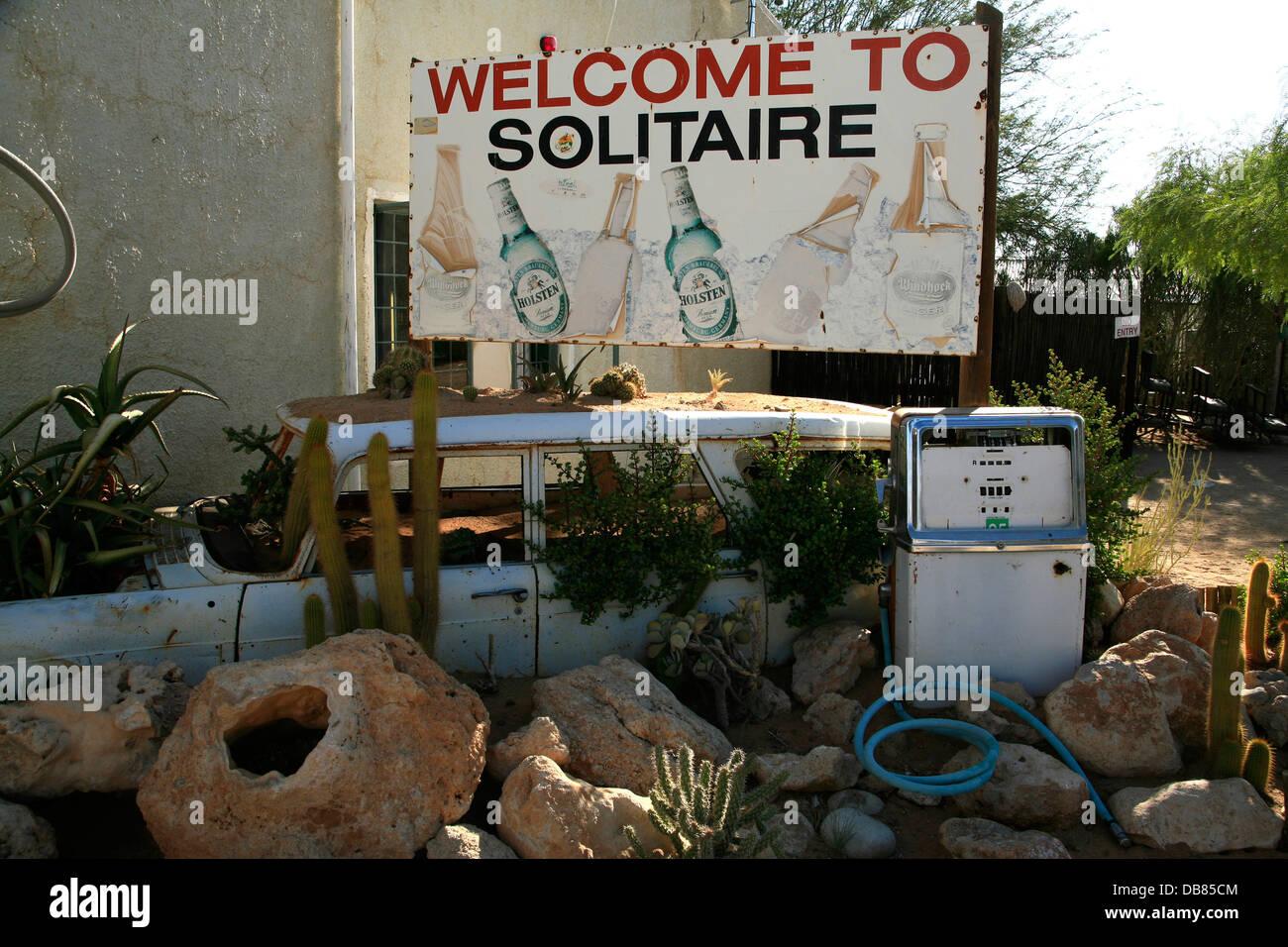 Descendre station essence, Solitaire, en Namibie Photo Stock