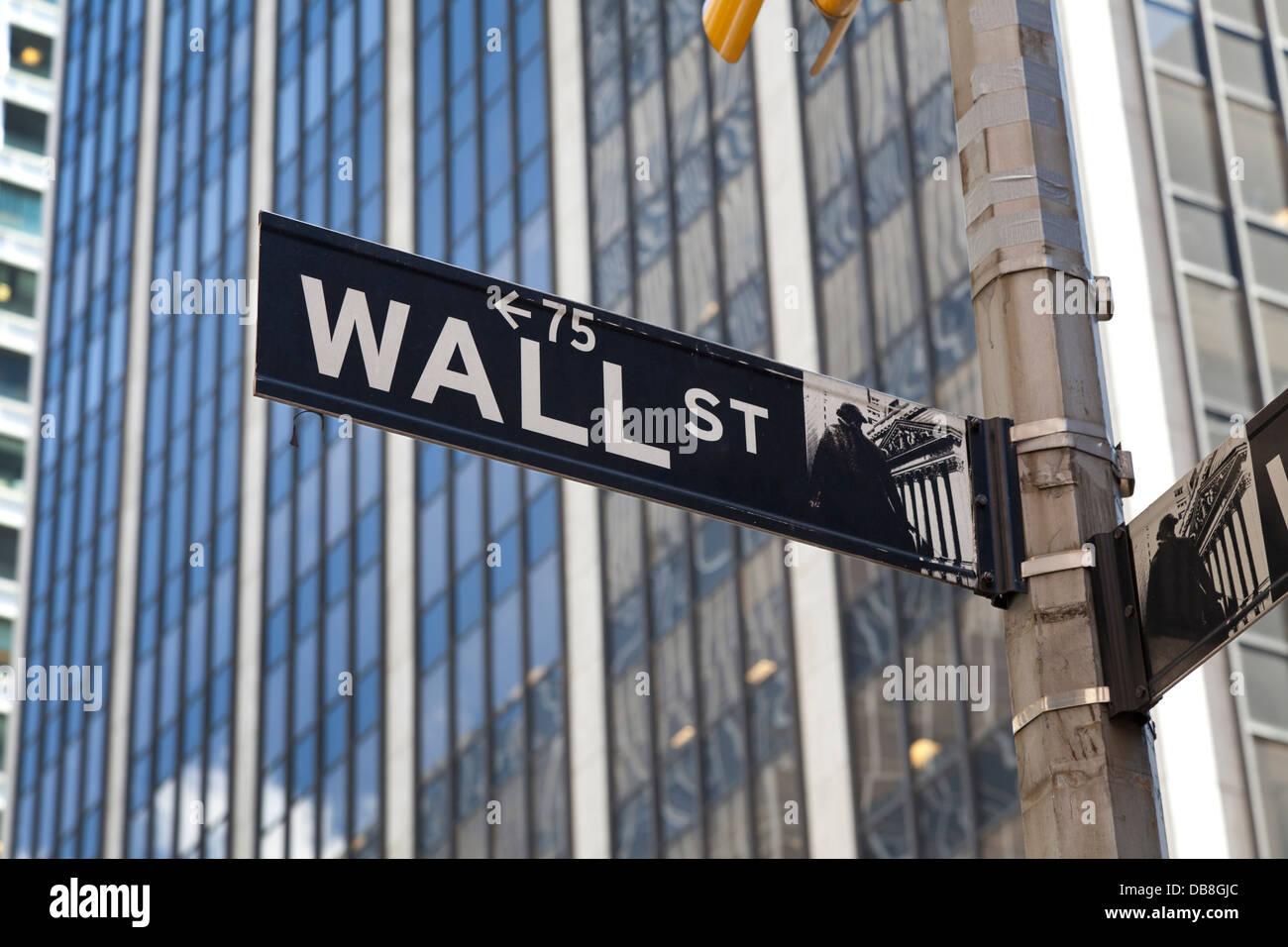 Plaque de rue de Wall Street dans le financial district, New York City Photo Stock