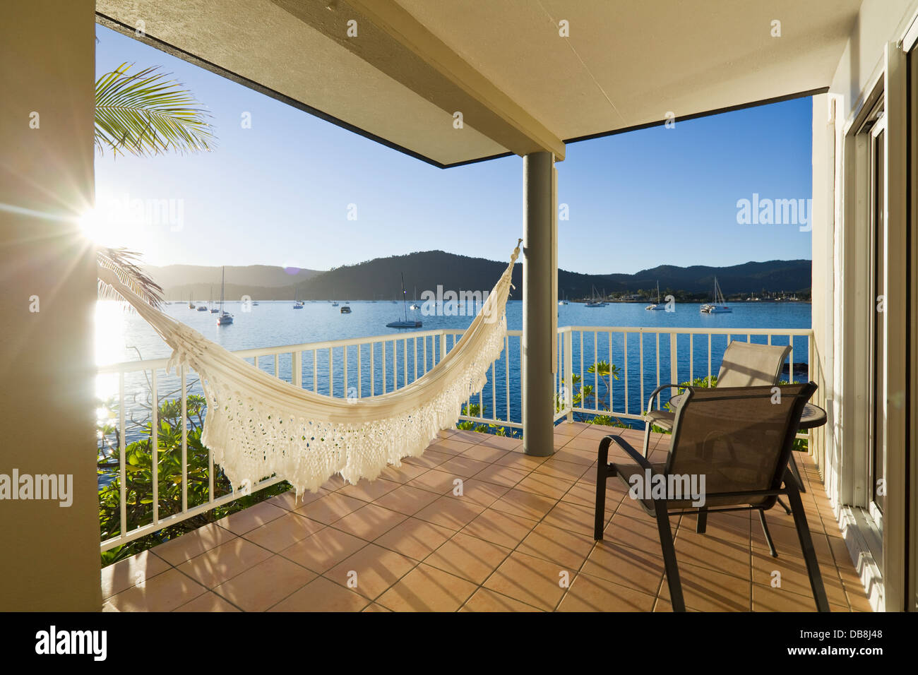 Vues sur la mer depuis le Coral Sea Resort. Airlie Beach, Whitsundays, Queensland, Australie Photo Stock