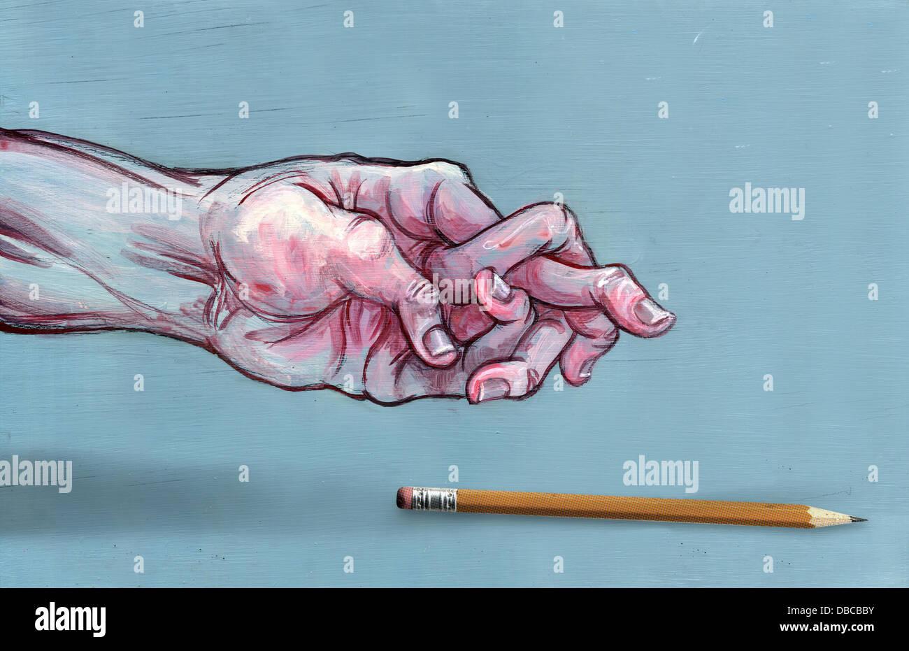 Image d'illustration de la main de l'homme avec les doigts et confuses pen représentant l'arthrite Banque D'Images