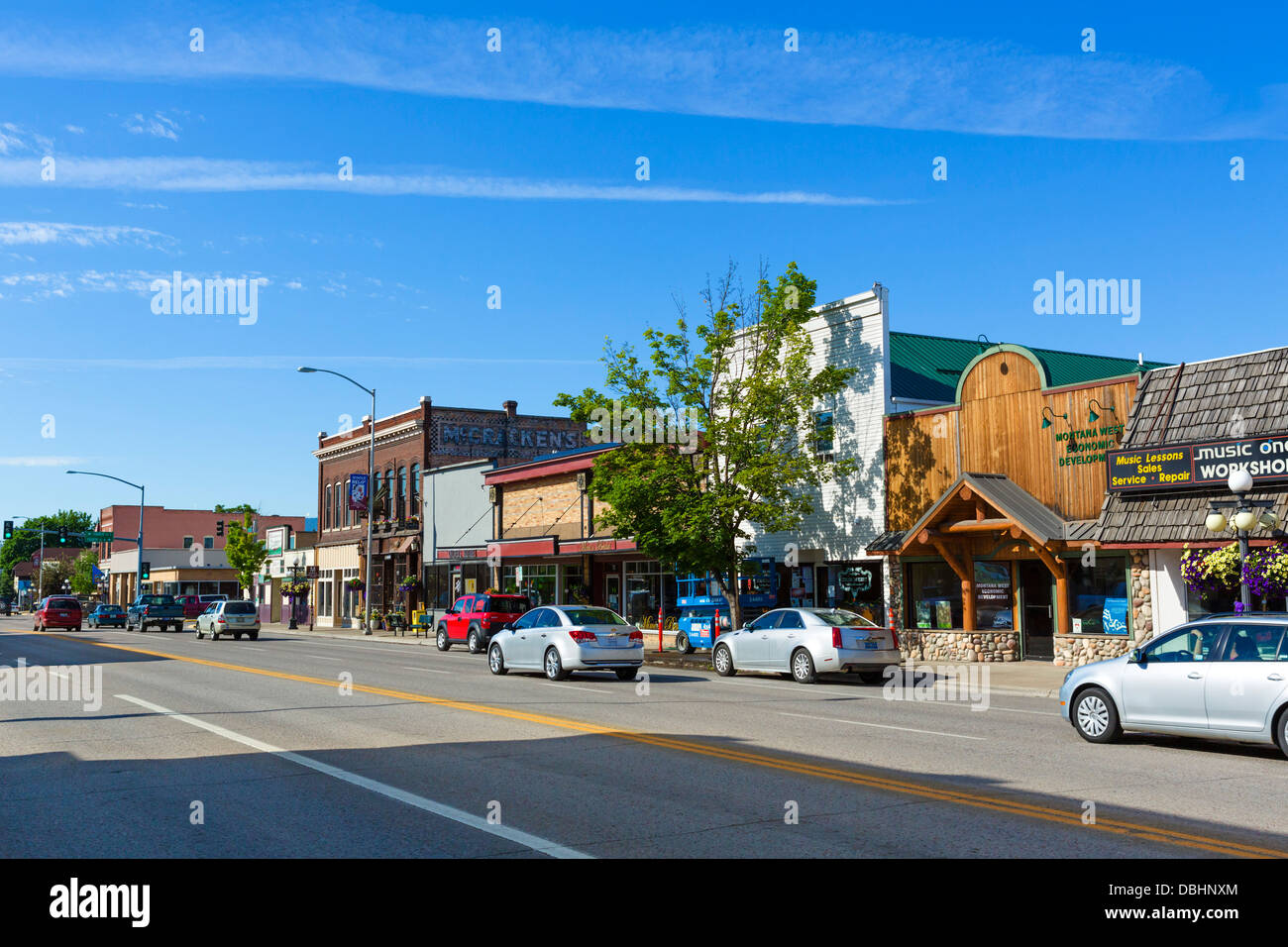 Rue principale de Kalispell, Montana, USA Photo Stock