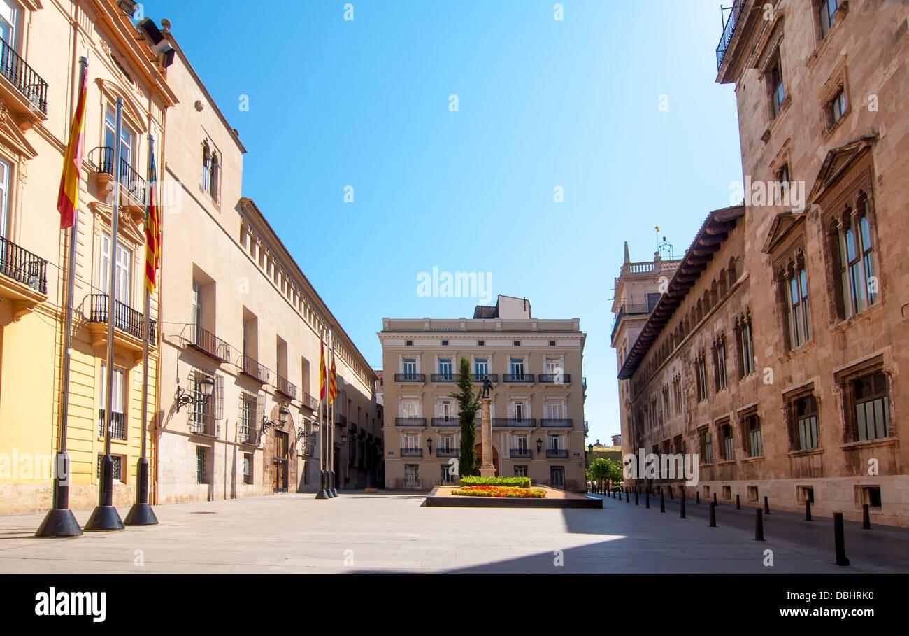 Place de Manises sans que personne dans la ville de Valence Photo Stock