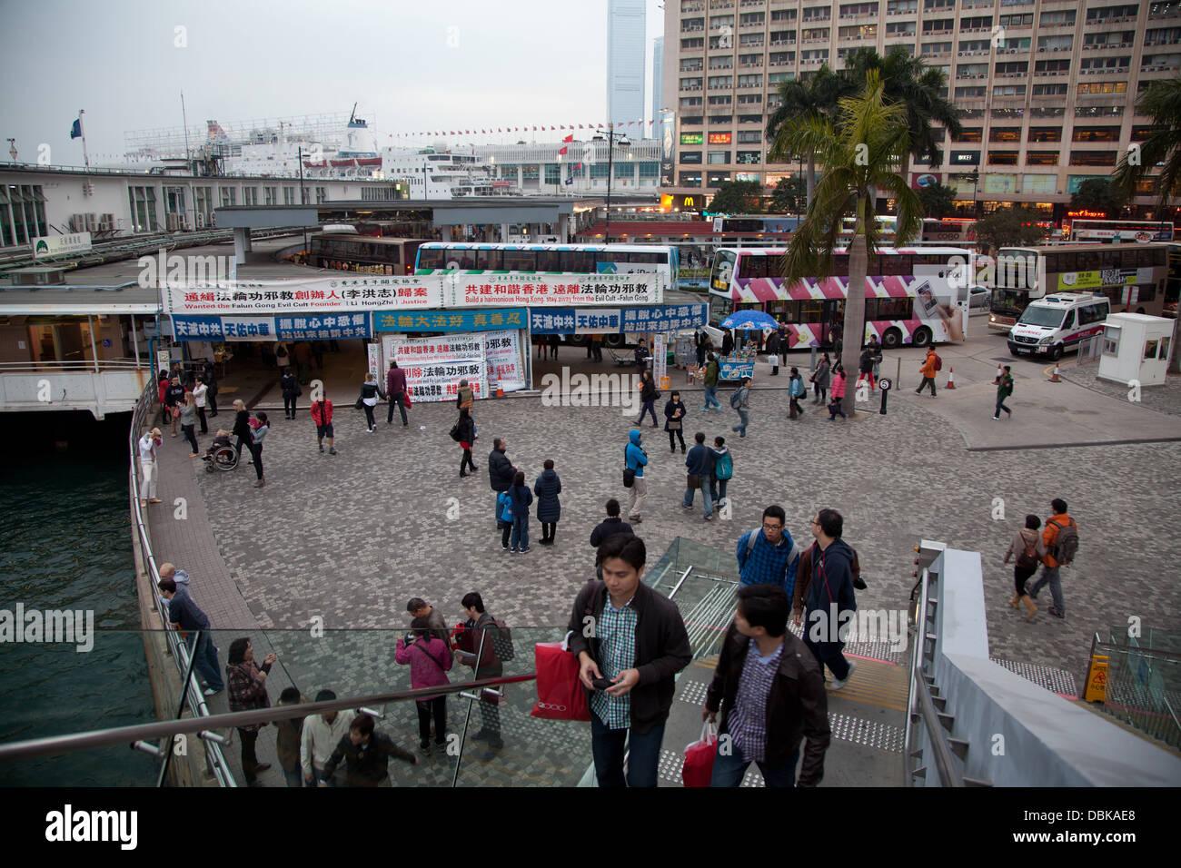 Le port de Hong Kong skyline tourisme touristes scène Banque D'Images